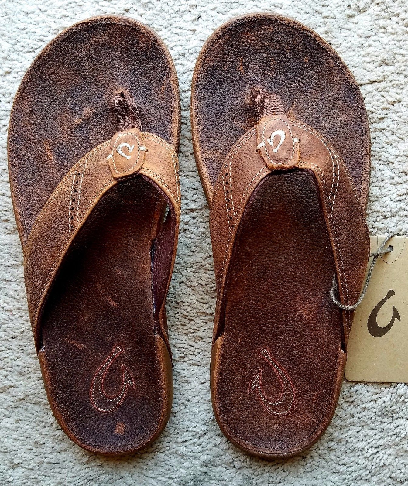 f85a8adef596 Sandals and Flip Flops 11504  Olukai Nui Leather Flip-Flops - Men S Rum Rum  Size 11 -  BUY IT NOW ONLY   62.99 on eBay!