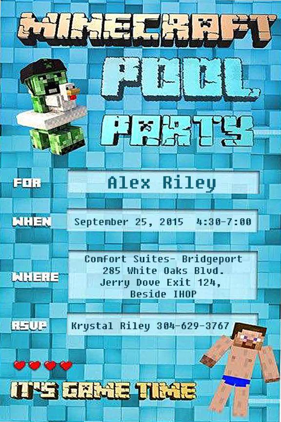 Minecraft Pool Party Birthday Invite Digital Design