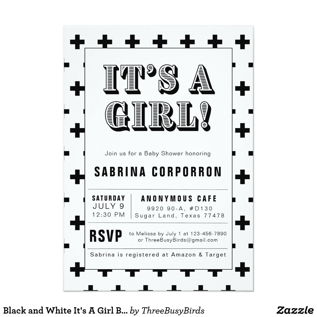 This black and white cross invitation is perfect for a modern baby ...