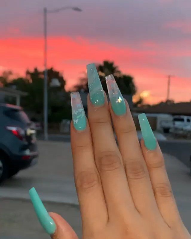 On Instagram Nails Nails Nailsofinstagram Nailart Nailsonfleek In 2020 Blue Acrylic Nails Long Acrylic Nails Coffin Ombre Acrylic Nails