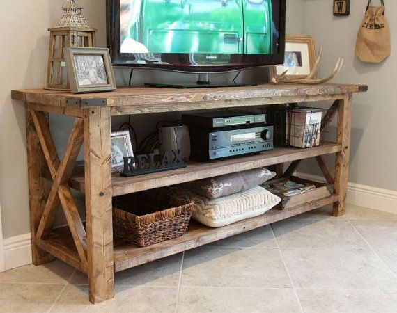 Rustic Tv Console Solid Wood Tv Console By Sunshinepartystudio