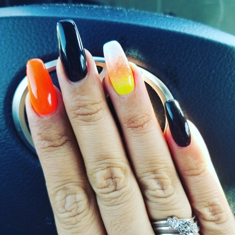 Halloween candy corn coffin nails | Coffin nails, Nails ...