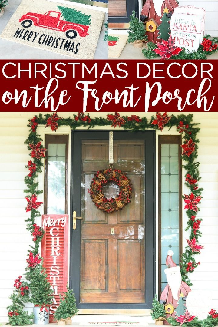 These front porch Christmas decorations will be the hit of the neighborhood! Shop for everything you need from Old Time Pottery then pull together your decor in just minutes! | farmhouse christmas decor country chic cottage front porches #christmas #frontporch #farmhouse #farmhousestyle #rustic #christmasdecor #christmasdecorations #santa #merrychristmas #truckandtree #santa