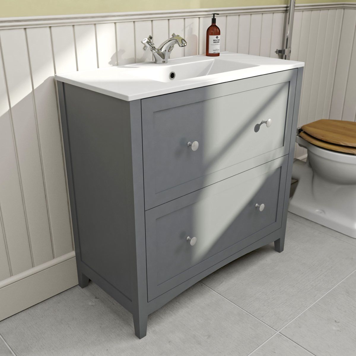 The Bath Co Camberley Satin Grey Vanity Unit With Basin