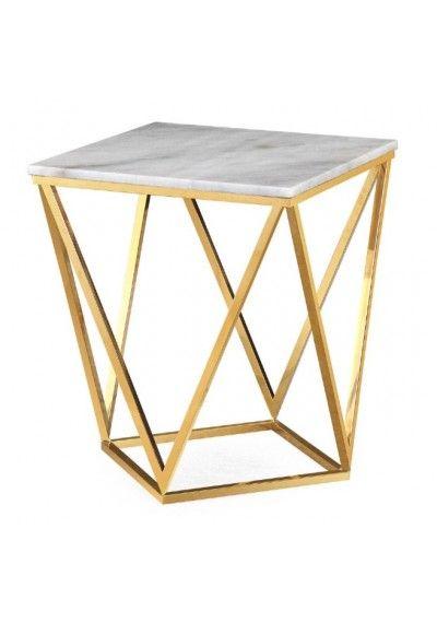 c16fa74352841 Square White Marble Geometric Golden Base Side Table