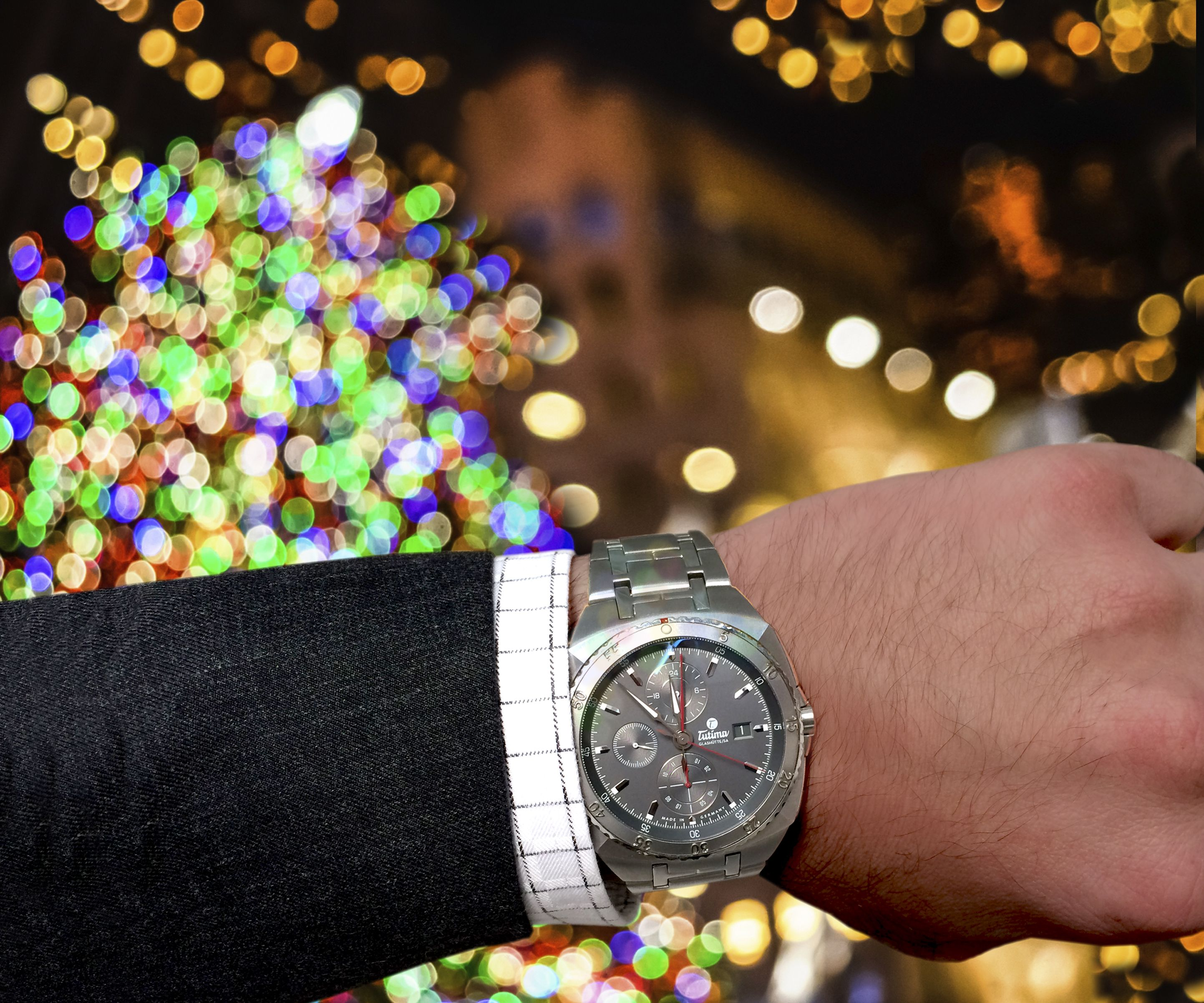 Celebrating the Tree Lighting at Rockefeller Center and around the world.  Featuring Tutima Saxon One Chronograph, LS