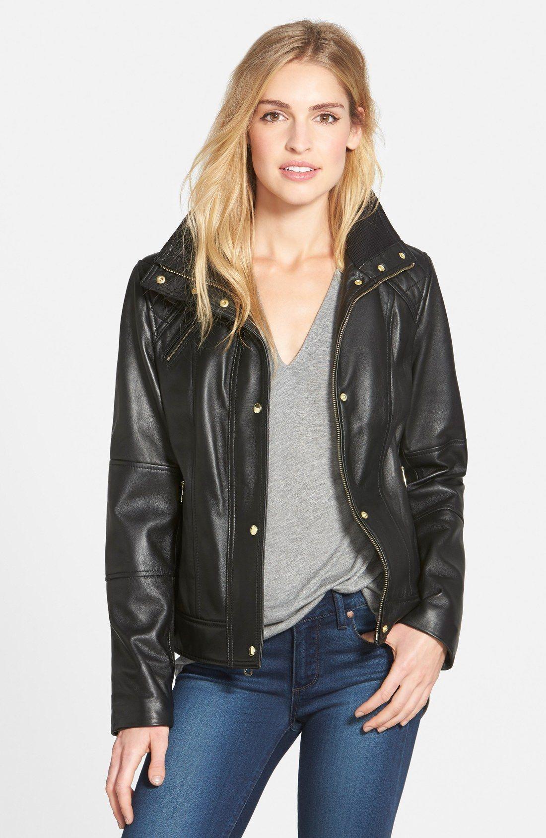 Cole Haan Knit Collar Lambskin Leather Bomber Jacket Nordstrom Leather Bomber Jacket Bomber Jacket Women Bomber Jacket Fashion [ 1687 x 1100 Pixel ]