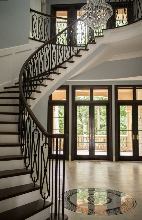 curved stairs wrought iron railings stairs stair railing rh pinterest com