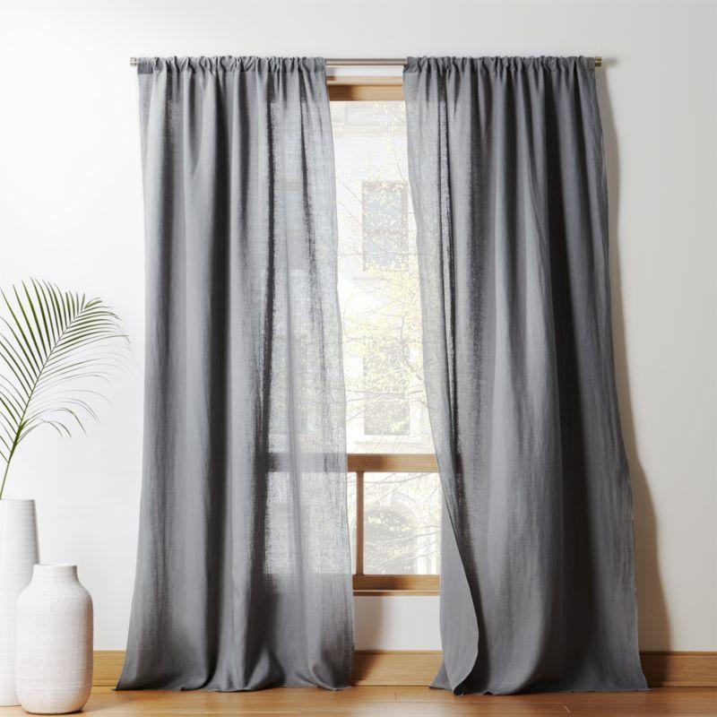 Graphite Linen Curtain Panel Cb2 Linen Curtain Panels Living Room Decor Curtains Linen Curtains