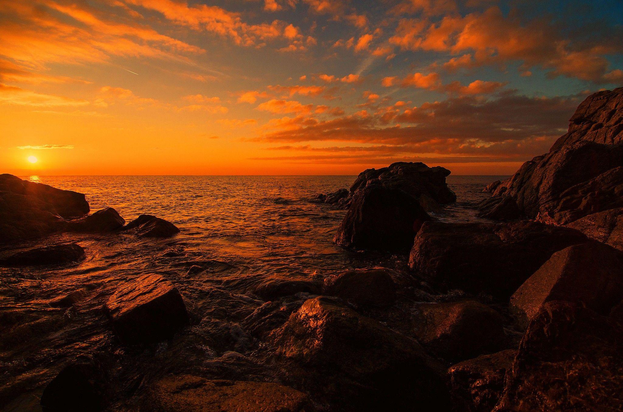 Sun Cliff Water Sky Rocks Seaside Clouds Sunset Sea Ocean Wallpaper Desktop Sunset Wallpaper Ocean Wallpaper Sunrise Wallpaper Hd wallpaper sunset sea rocks landscape