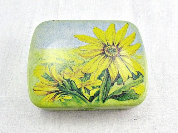 Small Pill Boxes Decorative Glamorous Vintage Hinged Tin Box  Pill Box Yellow Daisy Flowers Inspiration Design