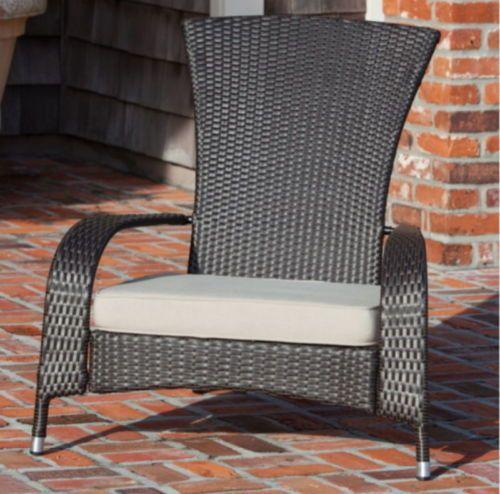 All Weather Wicker Adirondack Chair Patio Furniture Beige Cushion Mocha Finish Outdoor Furnishings Adirondack Chairs Patio Lounge Chair Outdoor
