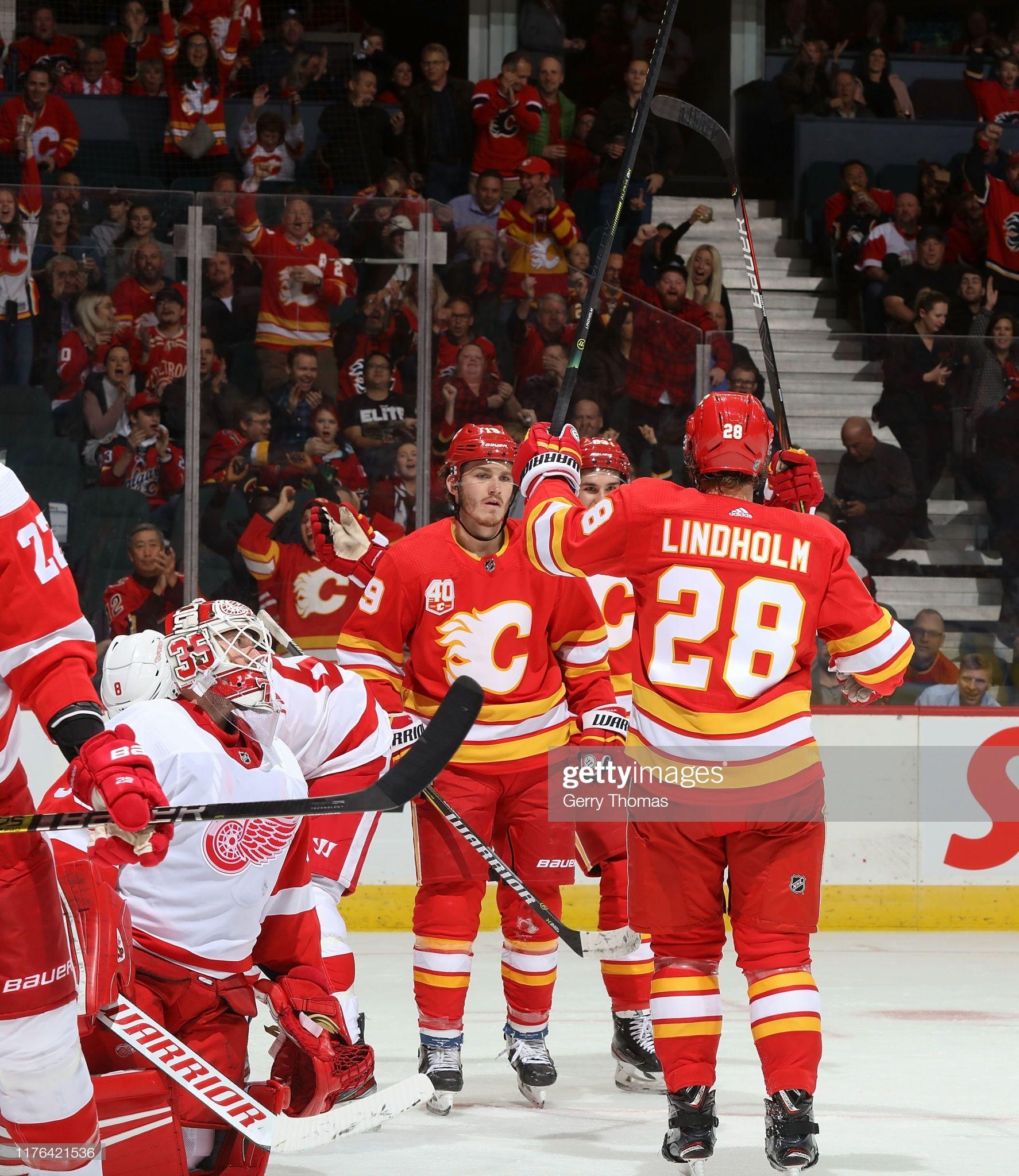 Elias Lindholm Of The Calgary Flames Celebrates After A Goal Against In 2020 Calgary Flames Calgary Detroit Red Wings
