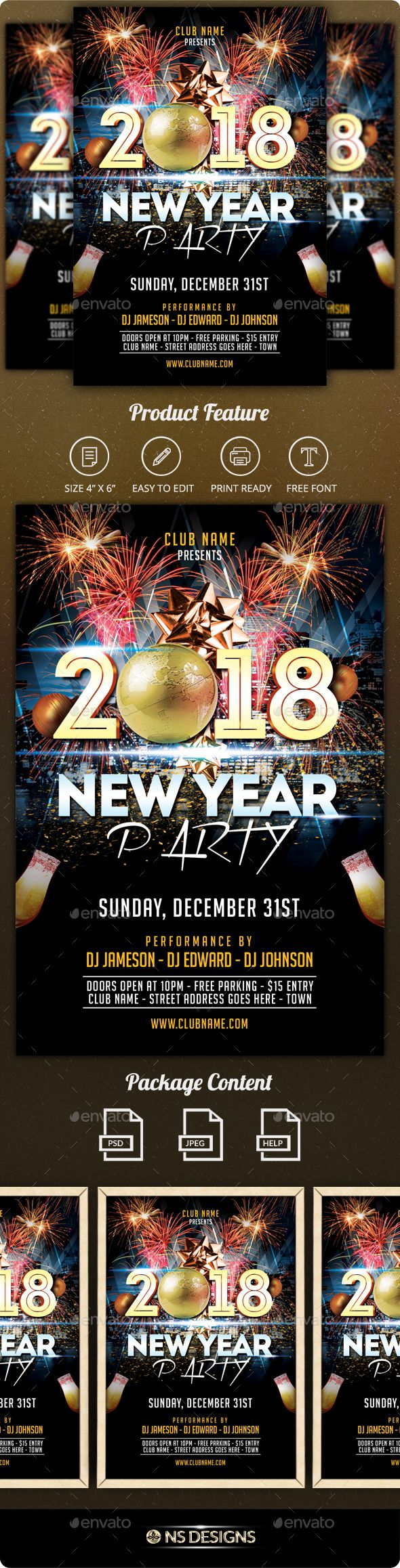 New Year Flyer  Event Flyers Font Logo And Flyer Template