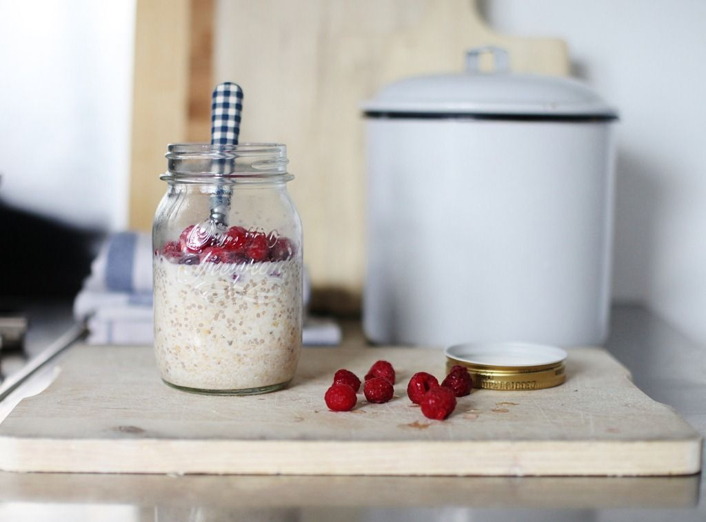 oats in a jar. Love this! We keep them pre made in the pantry then add milk and refrigerate overnight. I use old fashioned oats, brown sugar, cinnamon, chia seeds, sliced almonds and dates. In the morning I add fresh blueberries or raspberries and a little agave nectar. Mmmmm