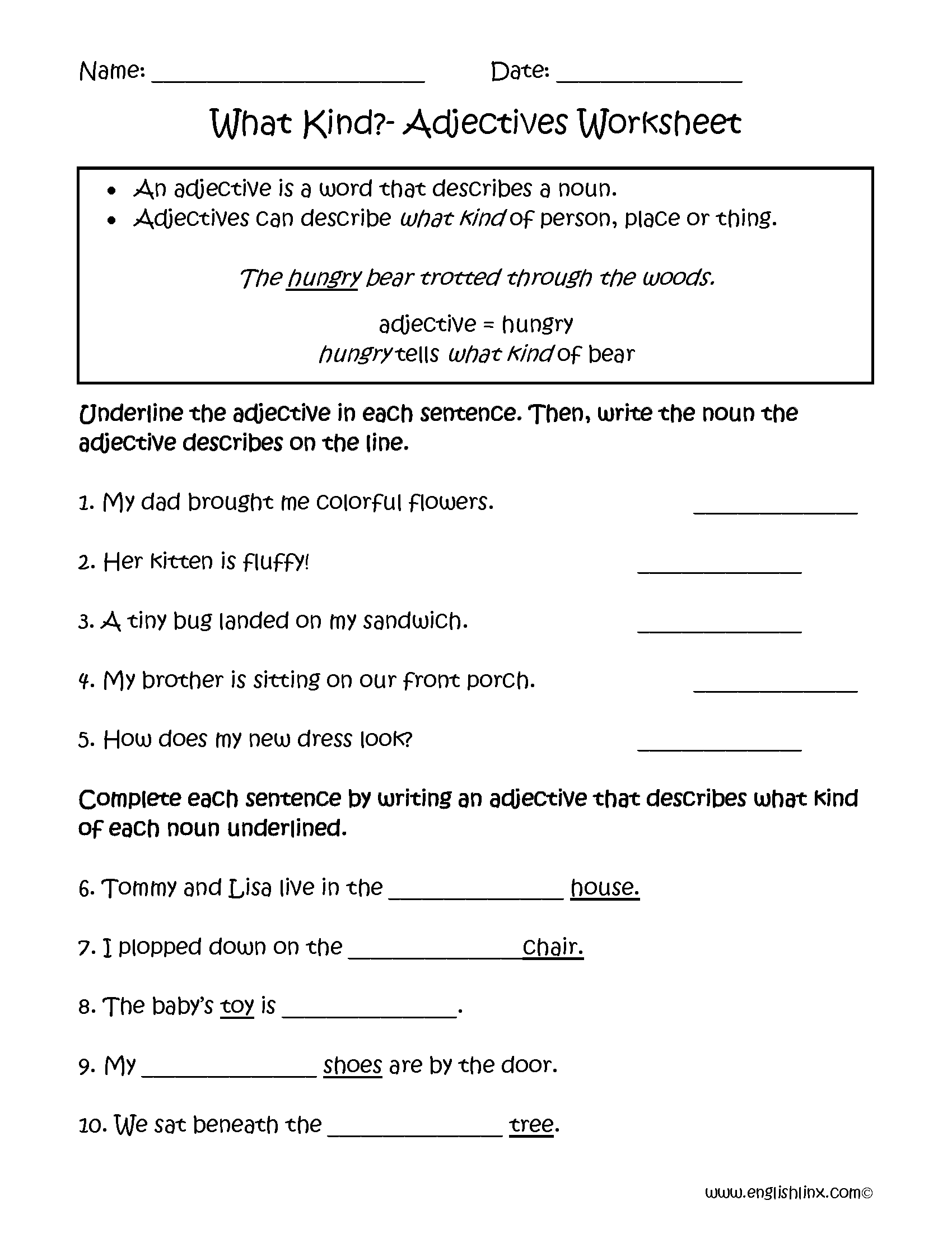 What Kind Adjectives Worksheets | 2nd Grade Student Teaching ...