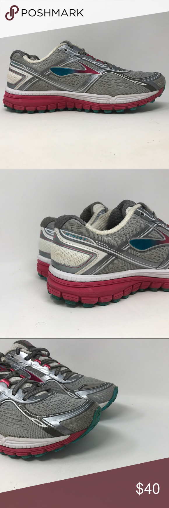 f0e80333cab Brooks Ghost 8 Running Shoes Womens Size 9.5 F7 Brooks Ghost 8 Running  Shoes Womens Size 9.5 Charcoal Bright Rose Bluebird C41 Next day shipping  Brooks ...