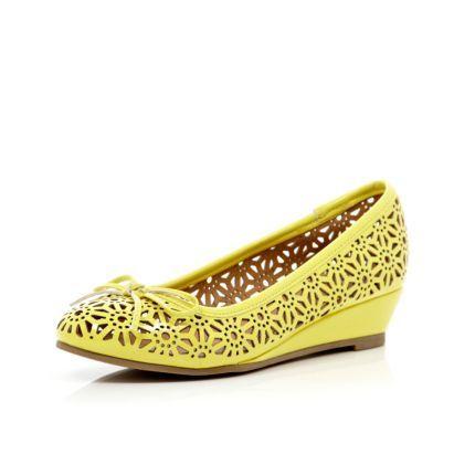 Girls yellow laser cut ballerina wedges - shoes / boots - girls