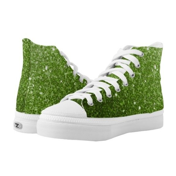 Beautiful Greenery Green glitter sparkles High-Top Sneakers (125 CAD) ❤  liked on Polyvore featuring shoes b8e63d3403