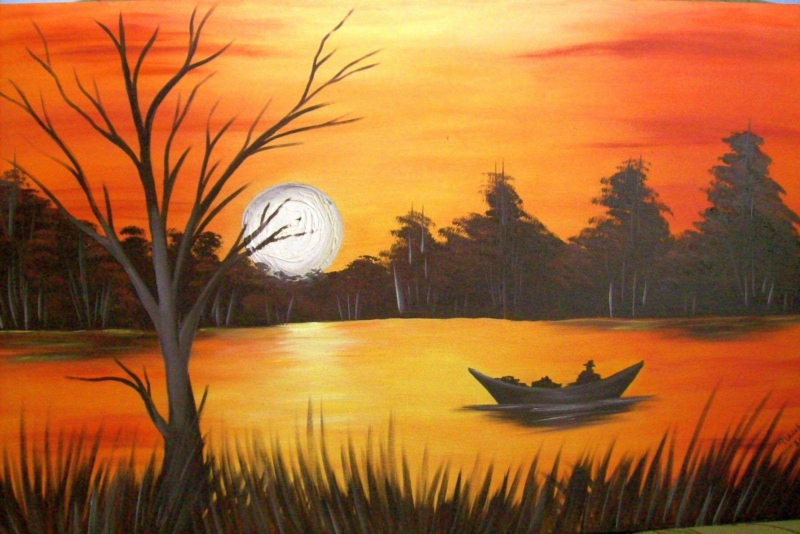 Pintura Em Tela Por Do Sol Passo A Passo Pesquisa Google