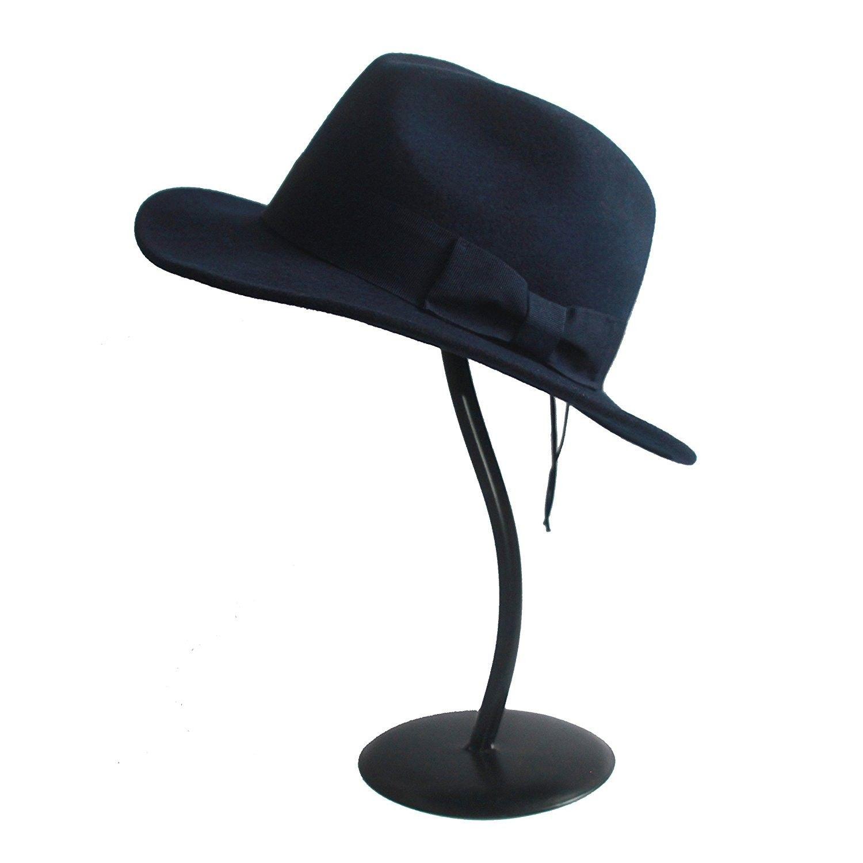 829cec08e7d06 Women s 100% Wool Felt Hat Jazz Hat Cowboy Hat With Big Bowknot ...