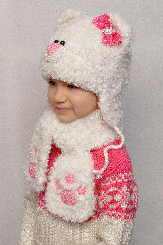 Hija de Don oso sombrero niños sombreros niños caída oído sombrero bebé  niña sombreros osito animales sombrero cálido invierno gorro punto llevar  sombrero ... a34cc2bbf8c