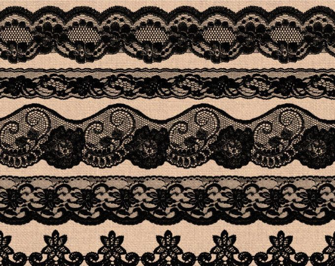 Black Lace Border Clip Art Wedding Clipart Shabby Rustic Overlays