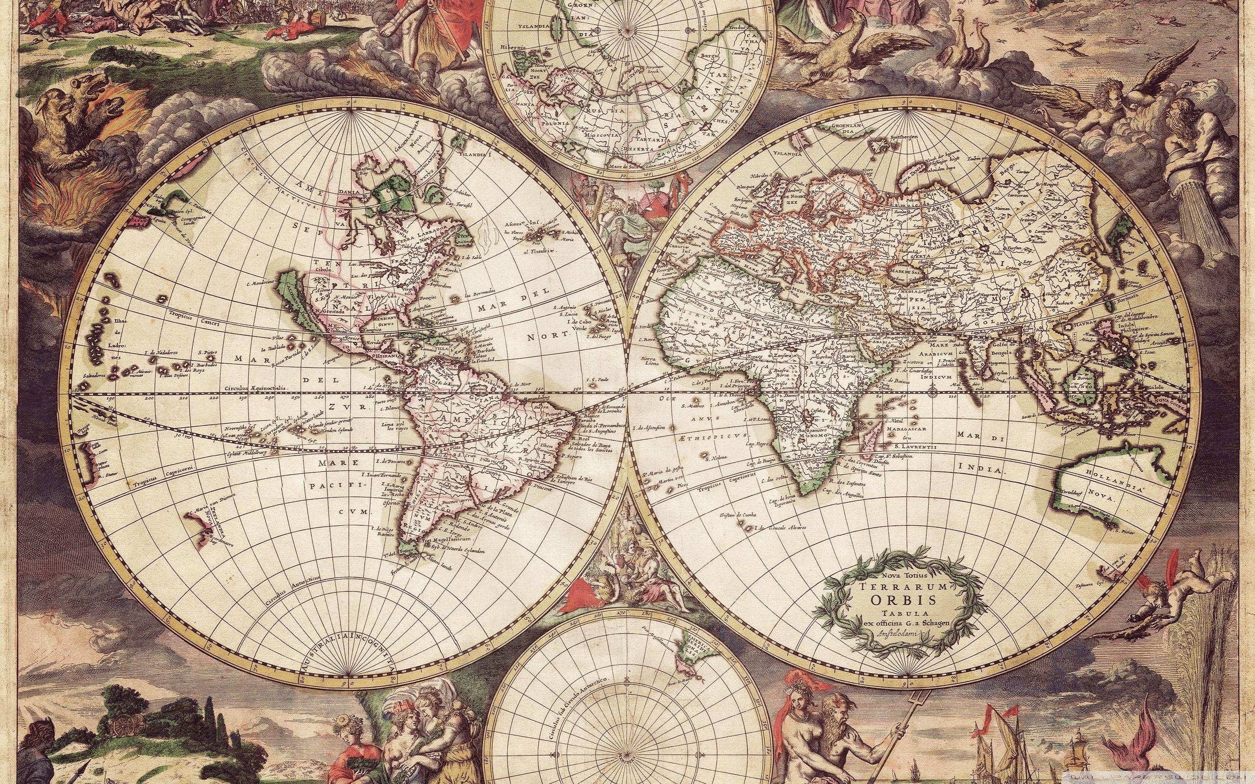 1689 World Map Gerard van Schagen Vintage Style Antique Wall Art Poster Print