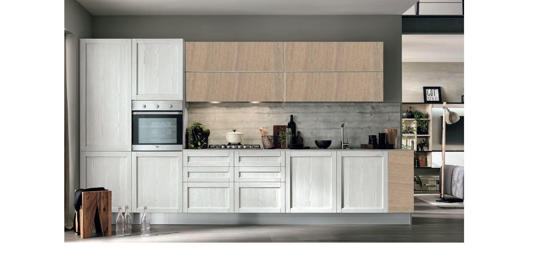 cucina moderna vintage lineare ante legno essenza rovere | Kitchen ...