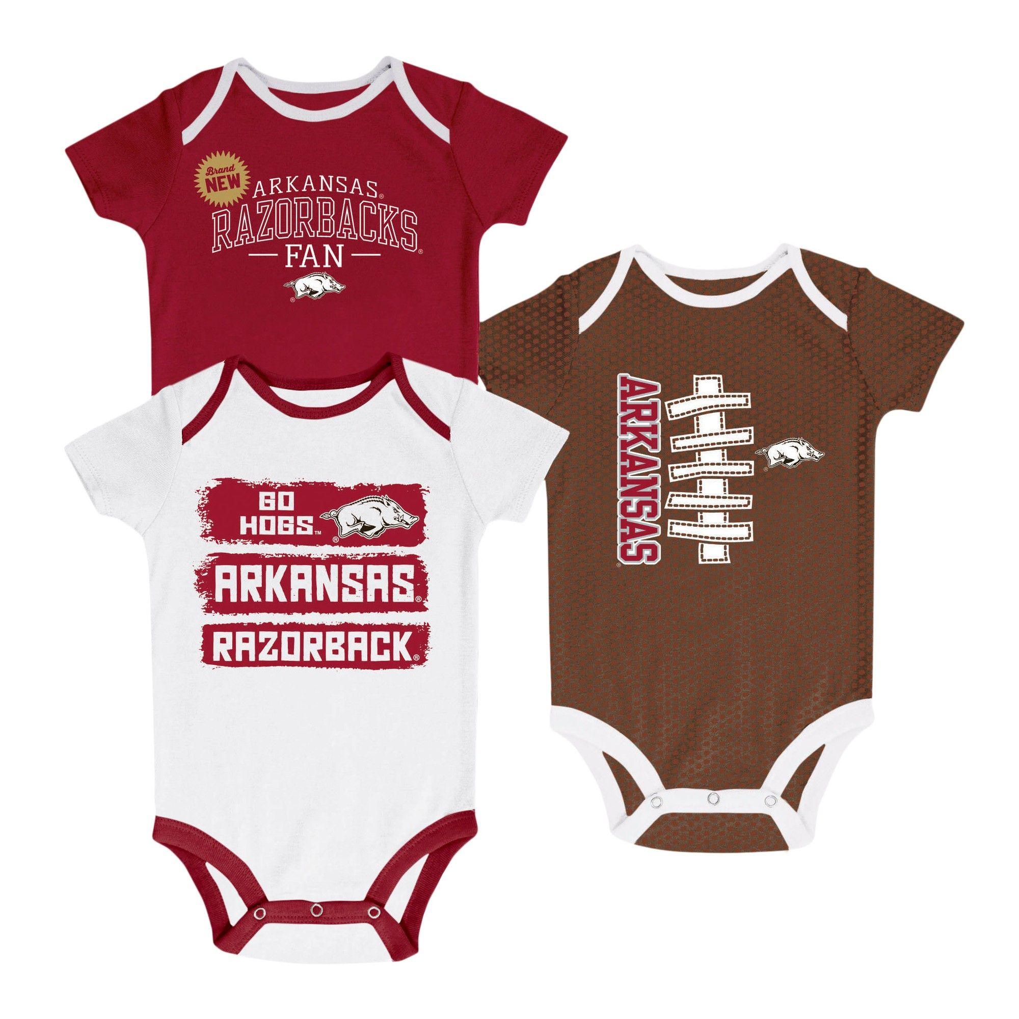 NCAA Newborn Bundle of Joy 3pk Bodysuit Set Arkansas Razorbacks 3