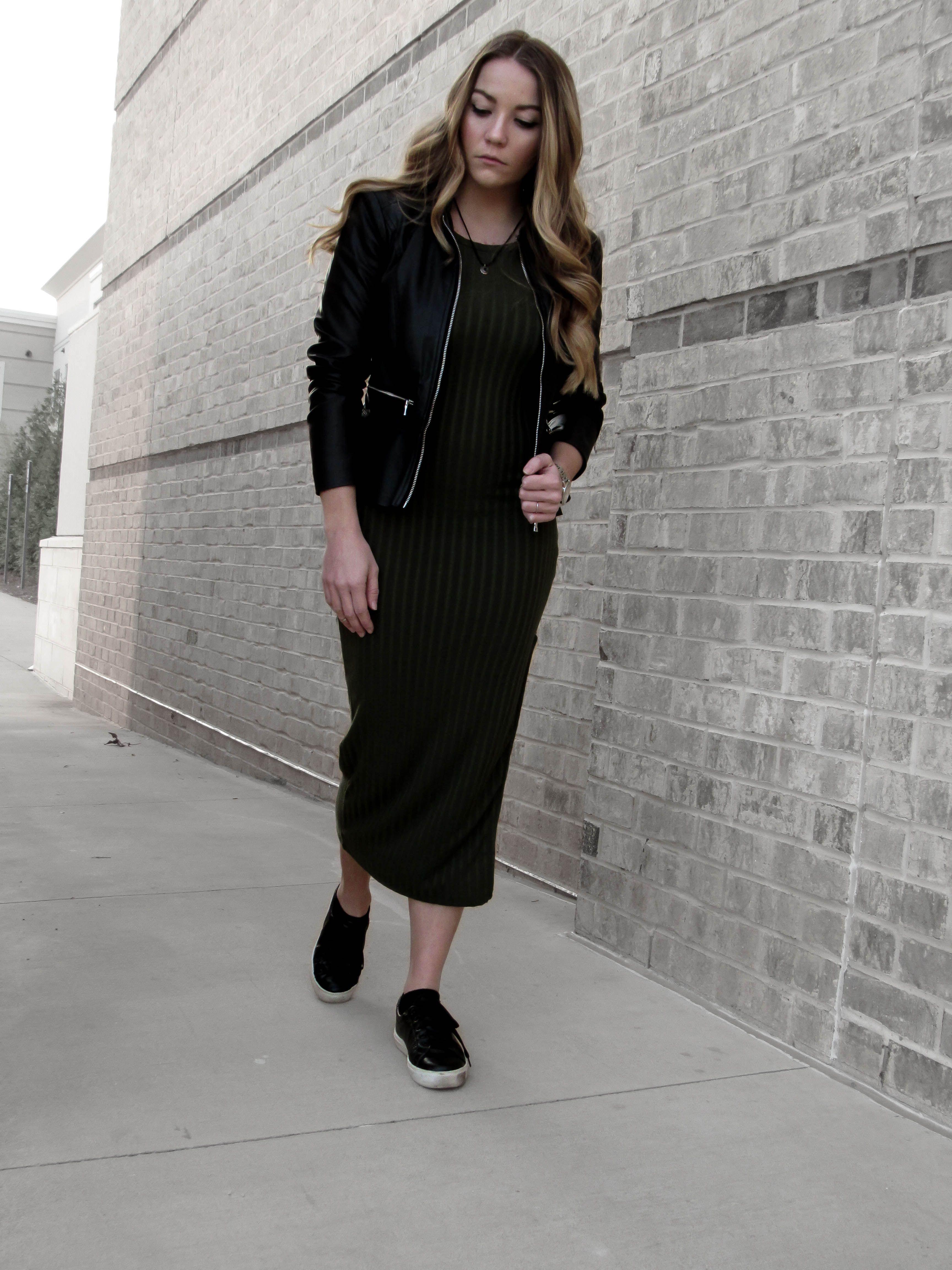 Dress with leather jacket outfit black black blog pinterest