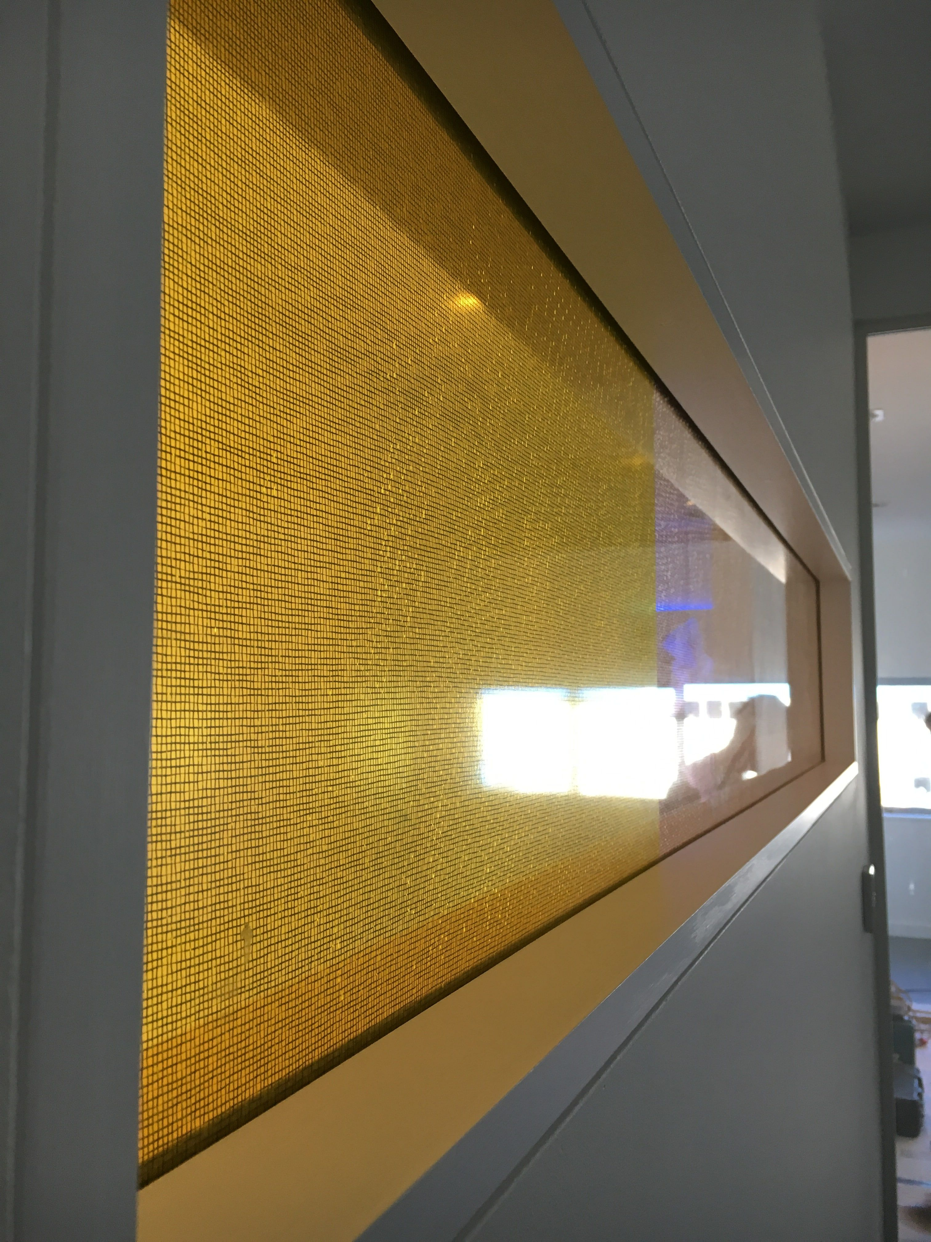 Laminated mesh window at the new offices of Cadisch MDA #mesh ...
