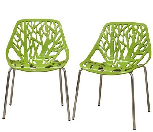 Fancierstudio Birch Sapling Plastic Accent Dining Chairs Green Tree Chair  Tree Of Life Chair Set Of