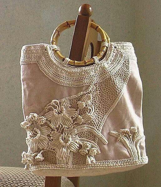 bolsa en tela y con aplicaciones en crochet