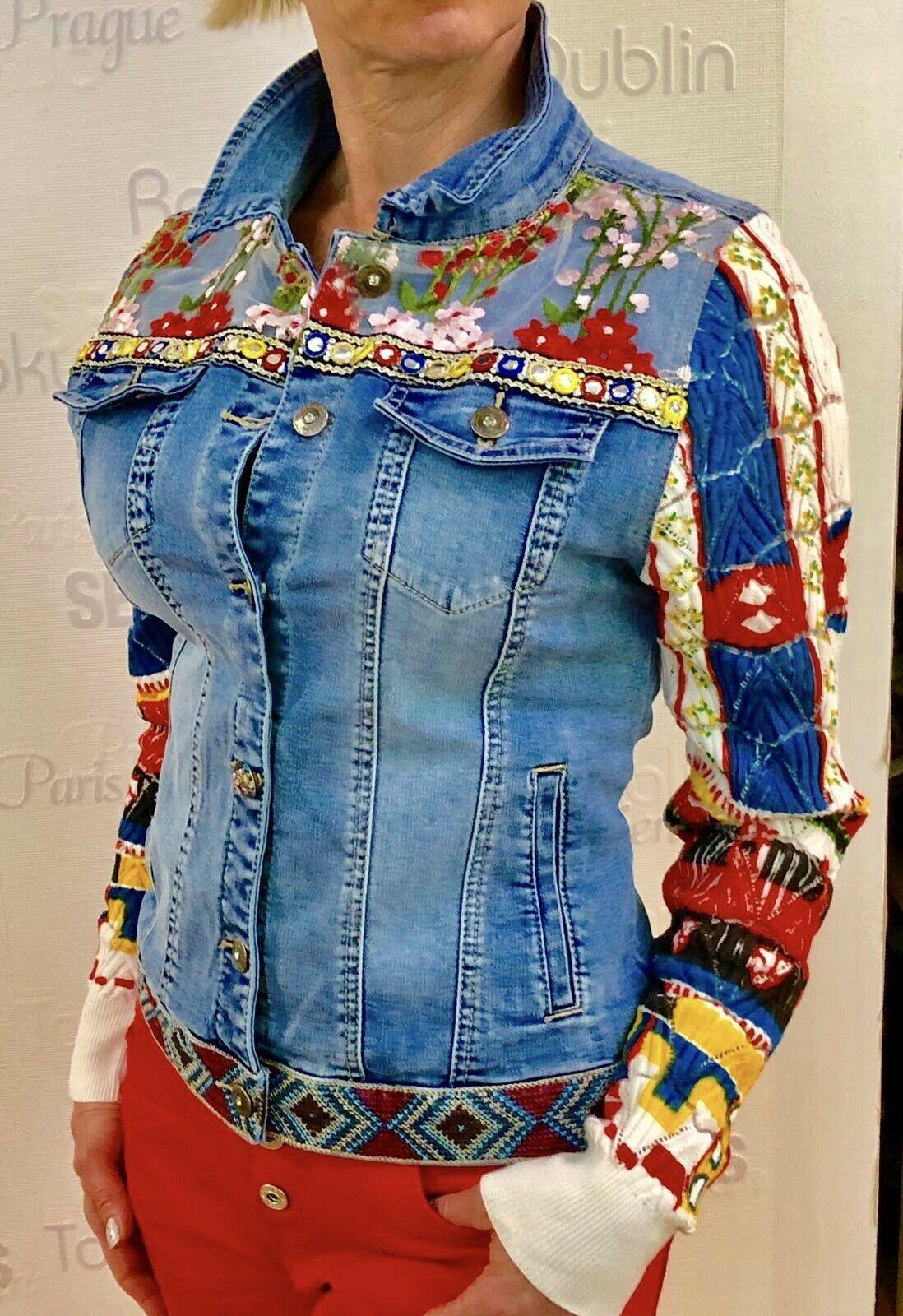 Ausgefallene Damen Jeansjacke Stickerei Denim Jeans Jacke ...