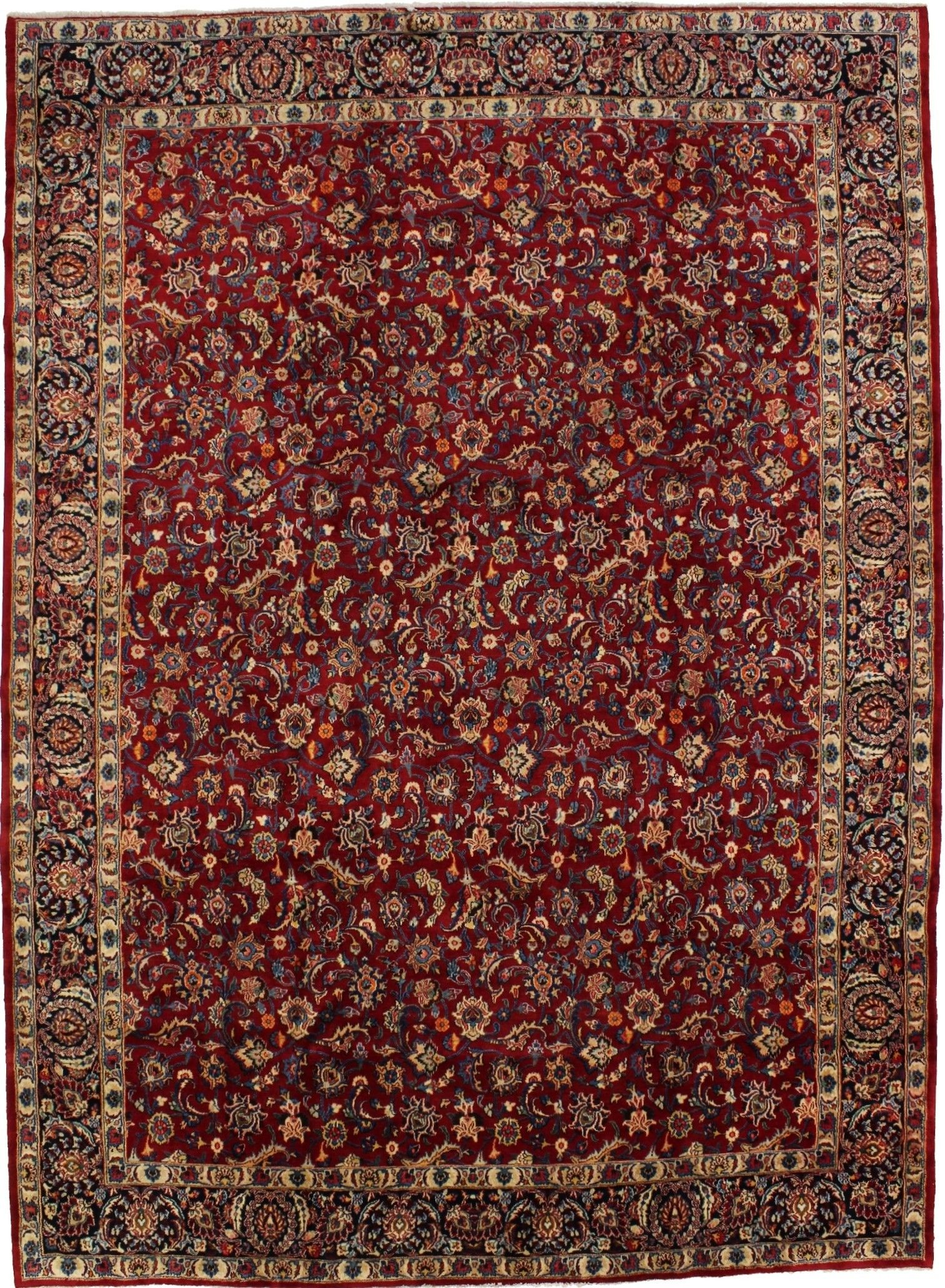 Vintage Red Traditional 9x12 Mood Birjand Persian Rug New