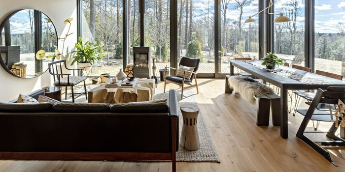 Rosewood, walnut and teak root set the scene at a weekend home in New York's Hudson Valley