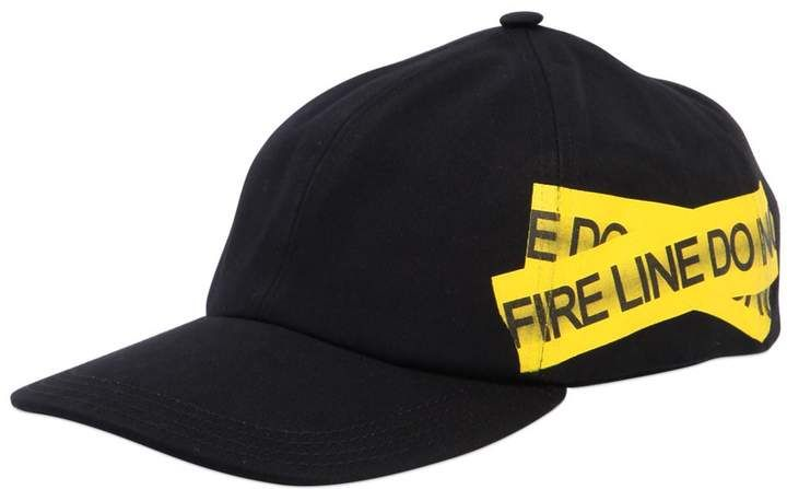 9af53a7d Off-White Fire Line Tape Canvas Baseball Hat | Shop the look ...