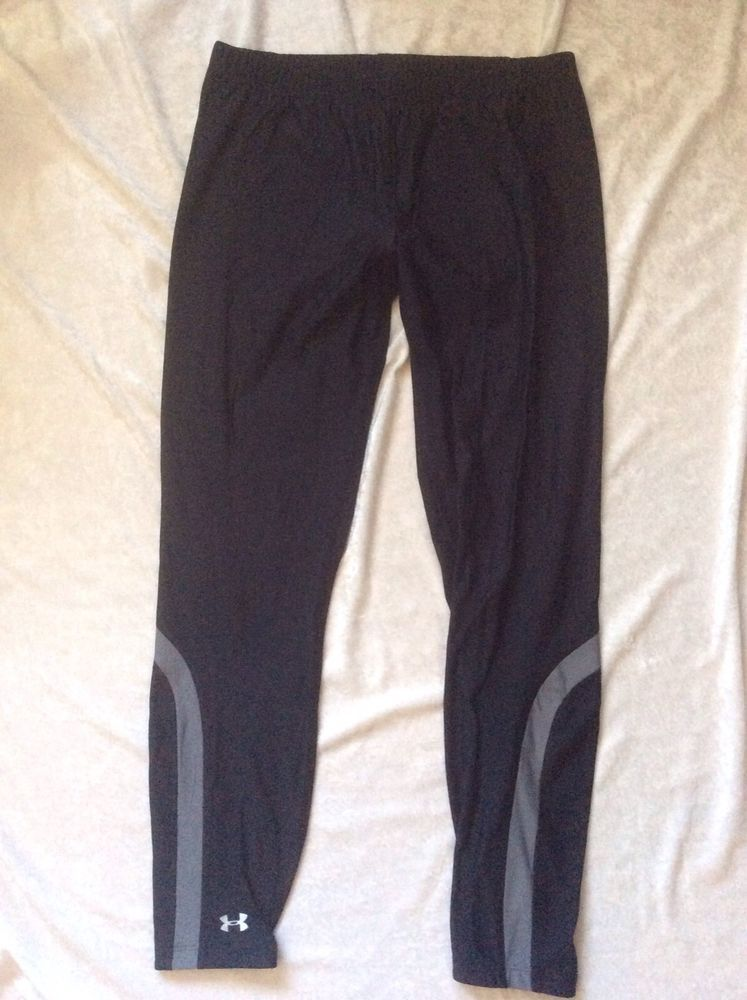 Under Armour Cold Gear Large Leggings Tights Running Yoga Ski Black Grey  Pants