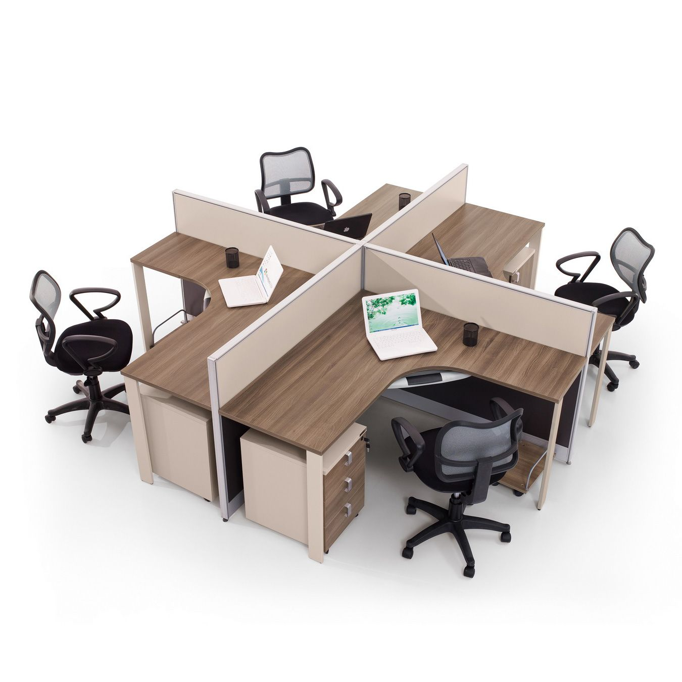 Modern Wood Office Furniture Workstation with Partition Screen 7F