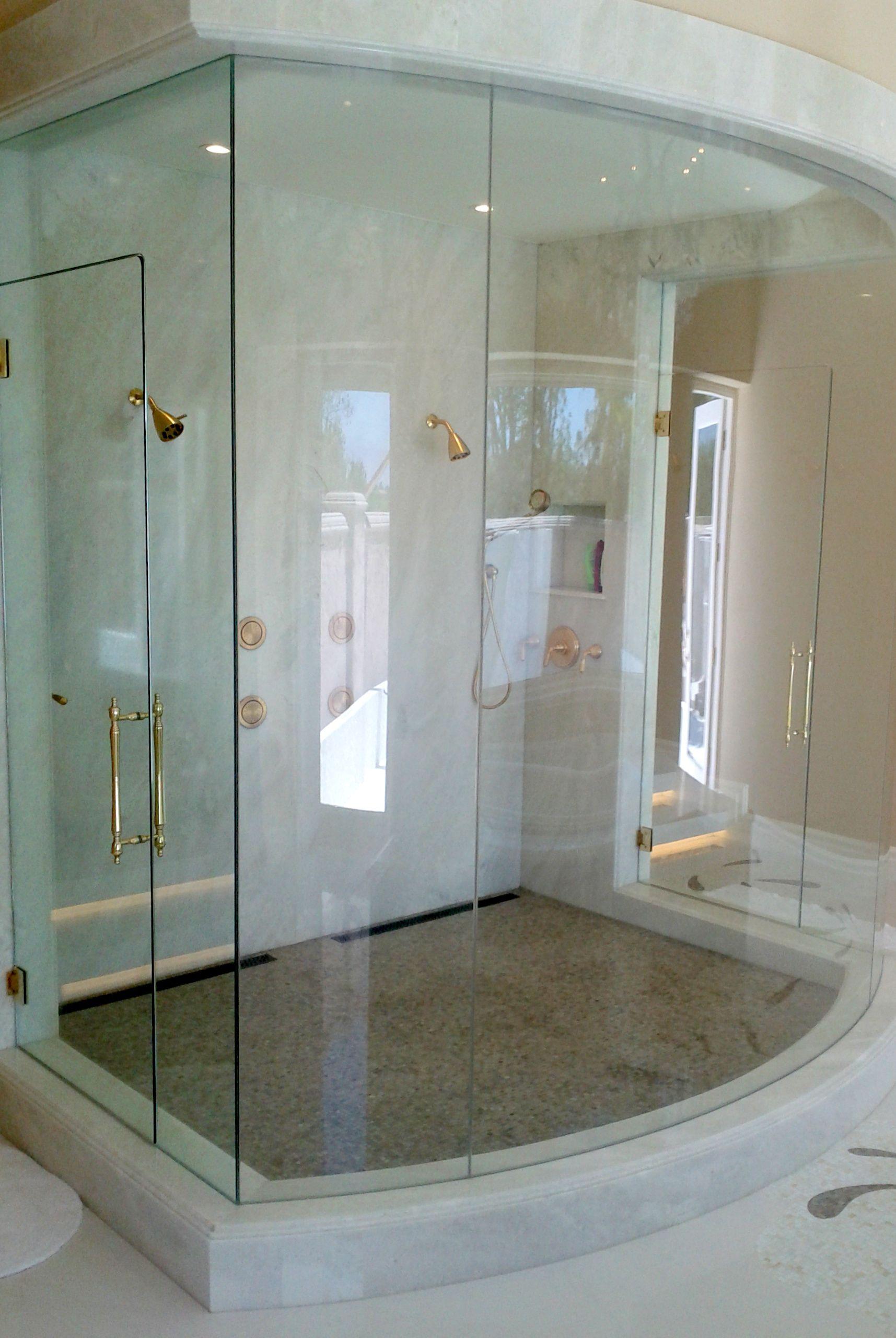 Frameless Bent Glass Shower Enclosure A D Glass Inc San