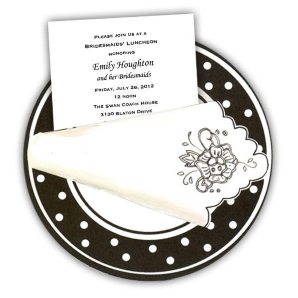 Polkadot Dinner Plate Bridesmaids Luncheon Invites Shower - lunch invitation templates