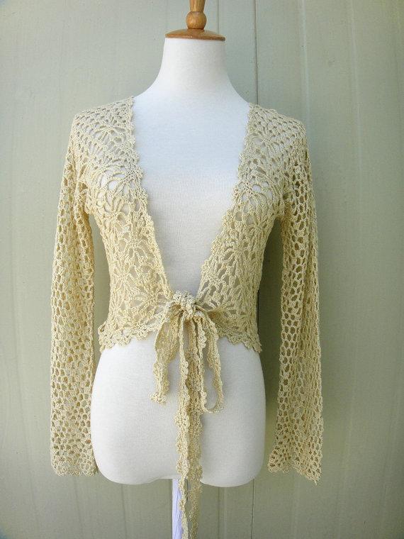 693bc5fa9 long sleeve crochet crop top tie front bolero jacket