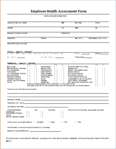 Employee Health Assessment Form DOWNLOAD At Http://www.templateinn.com/