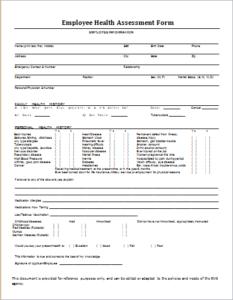 Lovely Employee Health Assessment Form DOWNLOAD At Http://www.templateinn.com/