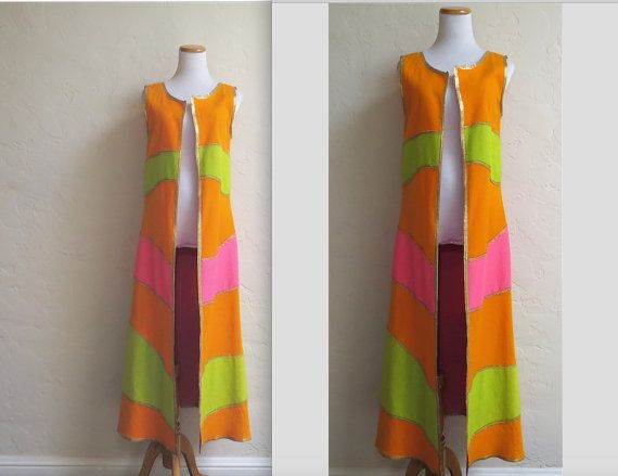 Ulimate 60s Groovy Psychedelic Neon Maxi Vest by by LolaAndBlack
