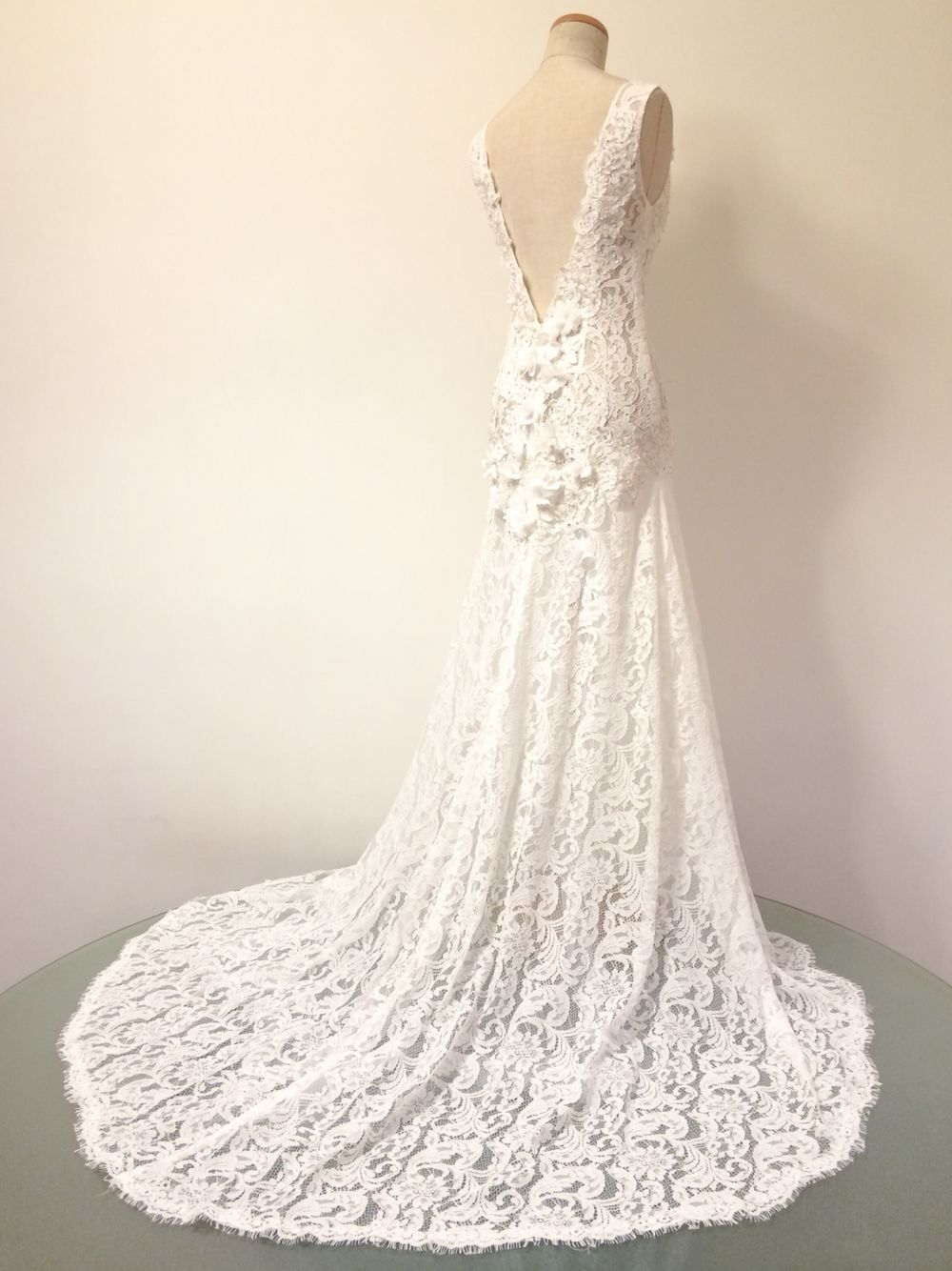 Full lace wedding dress with low v back details by victor chan