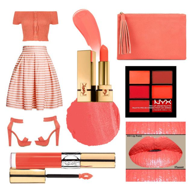 """""""Coral lips"""" by clori86 on Polyvore featuring beauty, Burberry, NARS Cosmetics, River Island, Rumour London, Charlotte Russe, Jessica McClintock, Yves Saint Laurent, NYX and coral"""