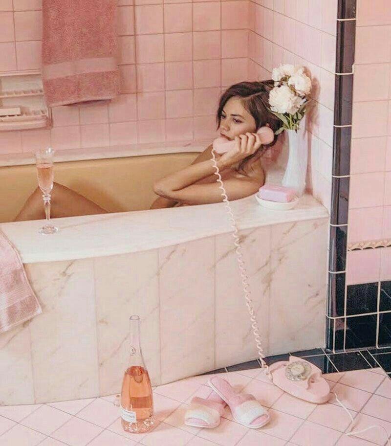 Pink Tub, Pink Bathroom