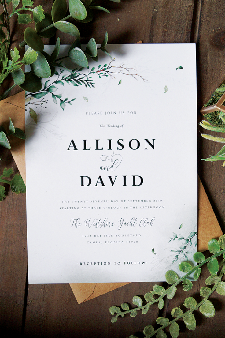 Greenery Boho Wedding Invitations Personalize Your Own Invitations